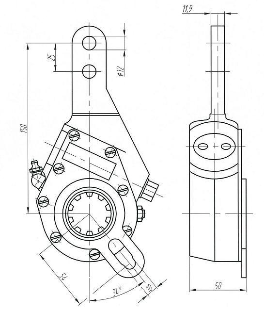 Рычаг тормоза регулировочный МАЗ широкий шлиц ТАИМ - 64221-3501236 - купить в Авто-Альянс, низкая цена на autoopt.ru
