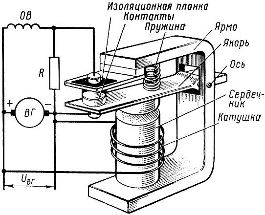Схема вибрационного реле-регулятора